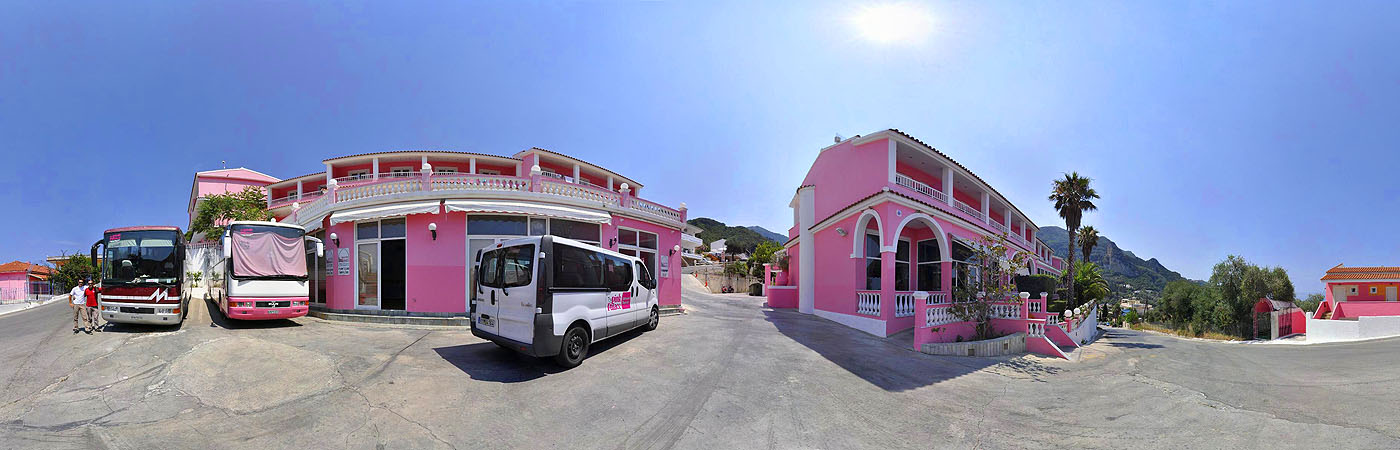Pink Palace Corfu Hostel main entrance
